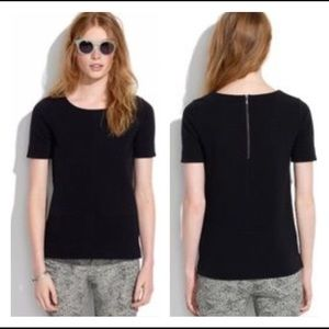 """Madewell """"bistro"""" black ribbed short sleeve blouse"""